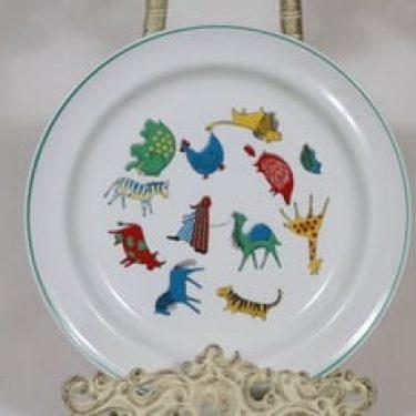 Arabia Zoo lasten  lautanen, matala, suunnittelija Anja Juurikkala, matala, serikuva, eläinaihe