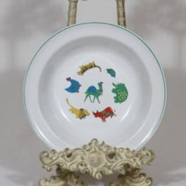 Arabia Zoo lasten  lautanen, syvä, suunnittelija Anja Juurikkala, syvä, serikuva, eläinaihe