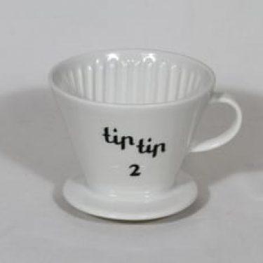 Arabia Tip tip 2 kahvisuppilo, valkoinen, suunnittelija , tekstikuvio