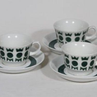 Arabia Salla kahvikupit, vihreä, 3 kpl, suunnittelija Raija Uosikkinen, puhalluskoriste