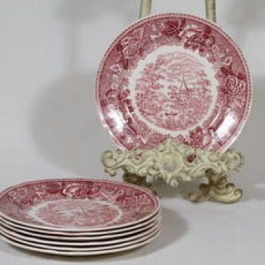 Arabia Maisema lautaset, punainen, 7 kpl, suunnittelija , pieni, kuparipainokoriste