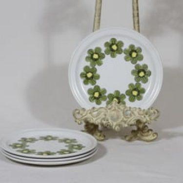 Arabia Primavera lautaset, 4 kpl, suunnittelija Esteri Tomula, pieni, serikuva, retro