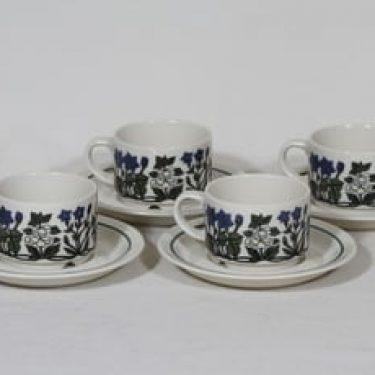 Arabia Flora kahvikupit, 4 kpl, suunnittelija Esteri Tomula, serikuva