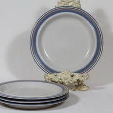 Arabia Uhtua lautaset, 4 kpl, suunnittelija Inkeri Leivo, matala, raitakoriste