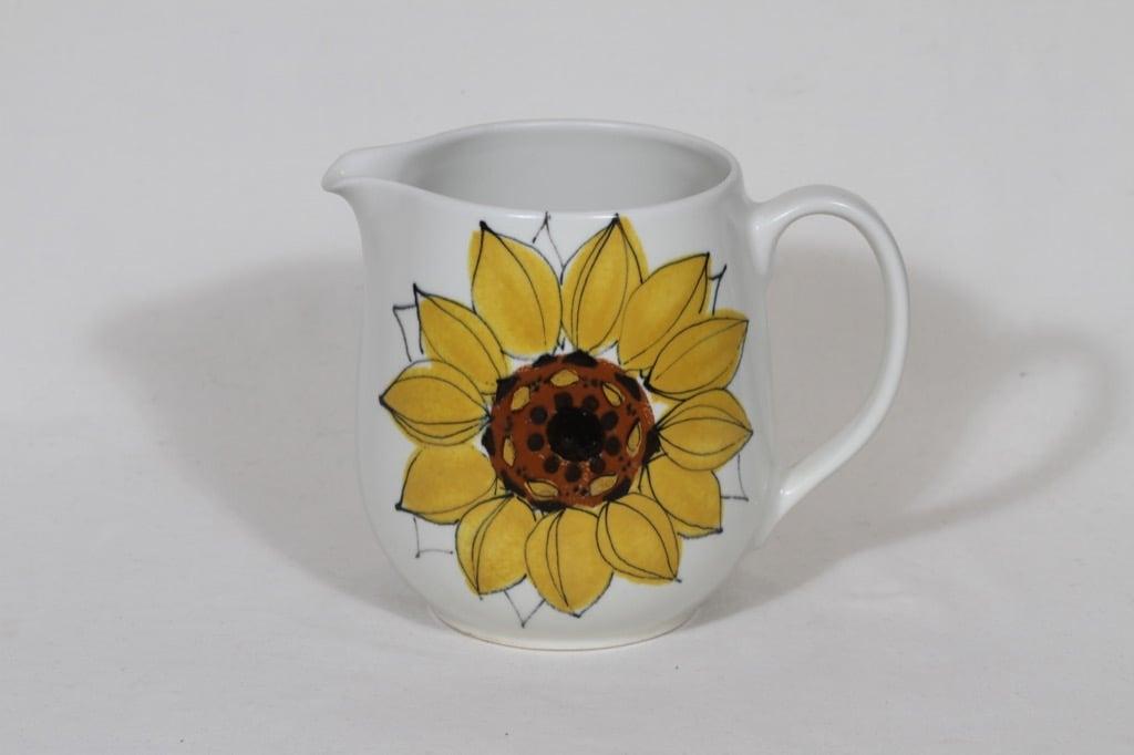 Arabia Aurinkoruusu kaadin, 1.3 l, suunnittelija Hilkka-Liisa Ahola, 1.3 l, käsinmaalattu, signeerattu