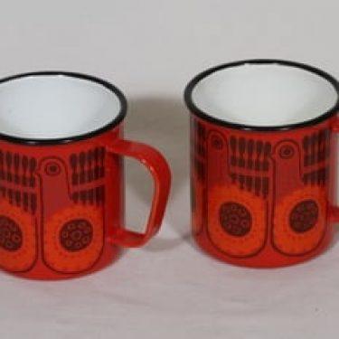 Finel Lintu mukit, punainen, 2 kpl, suunnittelija , serikuva, retro
