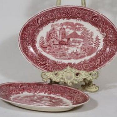 Arabia Maisema vadit, punainen, 2 kpl, suunnittelija , soikea, kuparipainokoriste