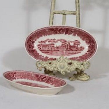 Arabia Maisema vadit, punainen, 2 kpl, suunnittelija , pieni, soikea, kuparipainokoriste