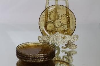 Riihimäen lasi Grapponia lautaset, amber, 5 kpl, suunnittelija , pieni