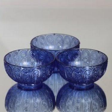 Riihimäen lasi Riikinkukko annoskulhot, sininen, 3 kpl, suunnittelija ,