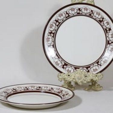 Arabia AB lautaset, matala, 2 kpl, suunnittelija Esteri Tomula, matala, serikuva