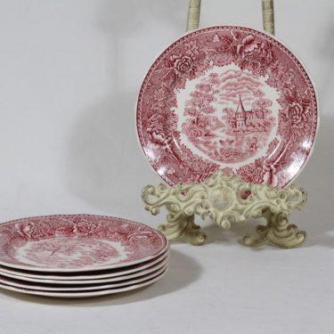 Arabia Maisema lautaset, punainen, 6 kpl, suunnittelija , pieni, kuparipainokoriste