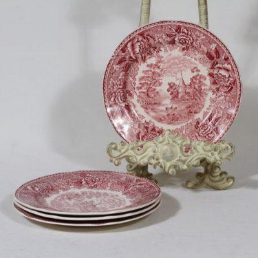 Arabia Maisema lautaset, punainen, 4 kpl, suunnittelija , pieni, kuparipainokoriste