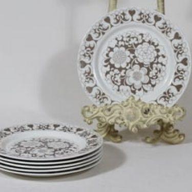 Arabia Gardenia lautaset, ruskea, 6 kpl, suunnittelija Esteri Tomula, pieni, serikuva