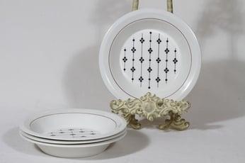 Arabia Kartano lautaset, syvä, 4 kpl, suunnittelija Esteri Tomula, syvä, serikuva