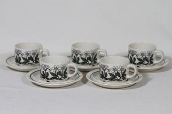 Arabia Flora kahvikupit, monivärinen, 5 kpl, suunnittelija Esteri Tomula, serikuva