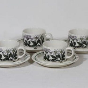Arabia Flora kahvikupit, monivärinen, 4 kpl, suunnittelija Esteri Tomula, serikuva