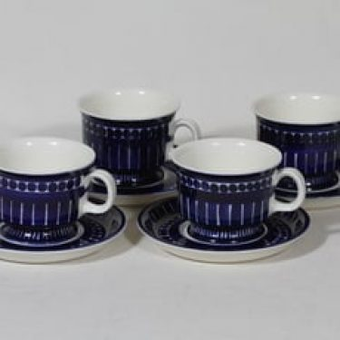 Arabia Valencia kahvikupit, 16 cl, 4 kpl, suunnittelija Ulla Procope, 16 cl, käsinmaalattu, signeerattu