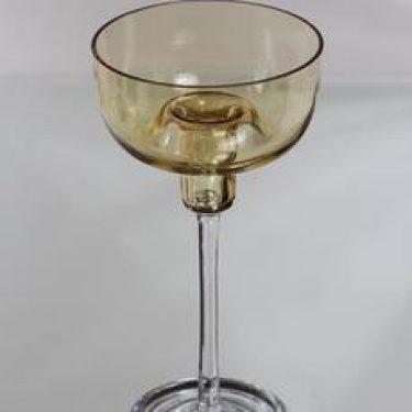 Riihimäen lasi Olympos kynttilänjalka, amber-kirkas, suunnittelija Nanny Still,