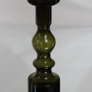 Riihimäen lasi Pompadour kynttilänjalka, oliivinvihreä, suunnittelija Nanny Still, suuri