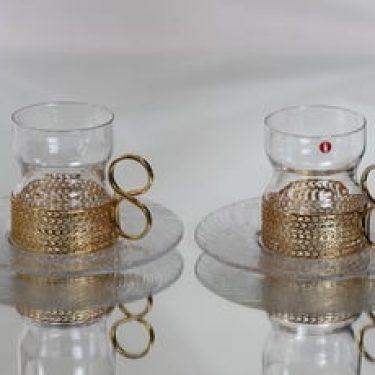 Iittala Tsaikka teelasit ja lautaset, kirkas, 2 kpl, suunnittelija Timo Sarpaneva,