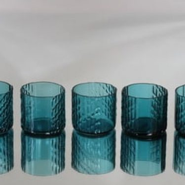 Riihimäen lasi Flindari lasit, turkoosi, 5 kpl, suunnittelija Nanny Still,