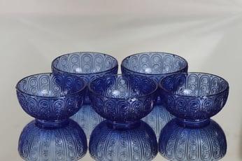 Riihimäen lasi Riikinkukko annoskulhot, sininen, 5 kpl, suunnittelija Nanny Still,