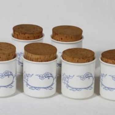 Arabia Sininen maustepurkit, 16 cl, 6 kpl, suunnittelija Raija Uosikkinen, 16 cl