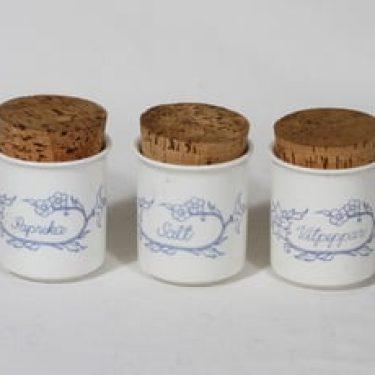 Arabia Sininen maustepurkit, 16 cl, 3 kpl, suunnittelija Raija Uosikkinen, 16 cl