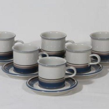 Arabia Uhtua kahvikupit, 6 kpl, suunnittelija , raitakoriste