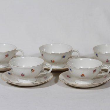 Arabia RE coffee cups, flower theme, 4 pcs, silk screening
