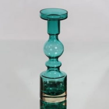 Riihimäen lasi Pompadour kynttilänjalka, turkoosi, suunnittelija Nanny Still,