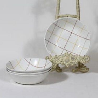 Arabia Verkko lautaset, syvä, 4 kpl, suunnittelija Raija Uosikkinen, syvä, käsinmaalattu