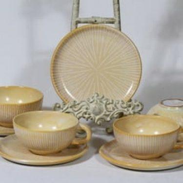 Kupittaan savi 347 teekupit, keltainen, 4 kpl, suunnittelija , käsinmaalattu