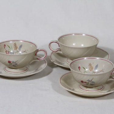 Arabia Flora kahvikupit, 3 kpl, suunnittelija Esteri Tomula, siirtokuva