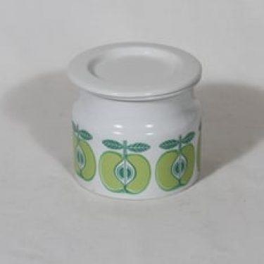 Arabia Pomona purnukka, omena, suunnittelija Raija Uosikkinen, omena, serikuva, retro