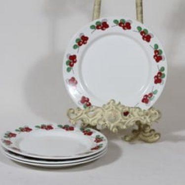 Arabia Marja lautaset, 4 kpl, suunnittelija Esteri Tomula, pieni, painettu ja maalattu