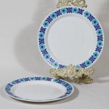 Arabia Ahmet lautaset, matala, 2 kpl, suunnittelija Raija Uosikkinen, matala, serikuva, retro
