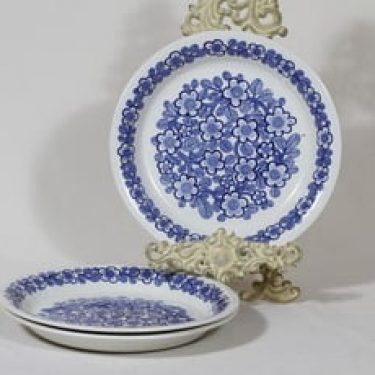 Arabia FF lautaset, kukkakuvio, 3 kpl, suunnittelija , kukkakuvio, kuparipainokoriste, matala