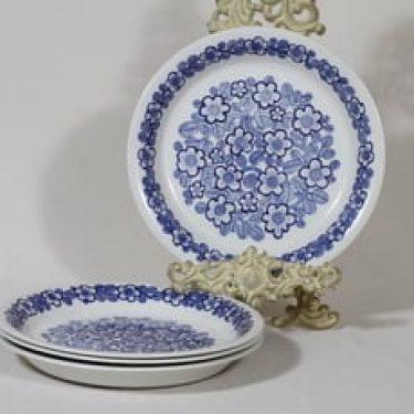 Arabia FF lautaset, kukkakuvio, 4 kpl, suunnittelija , kukkakuvio, kuparipainokoriste, matala