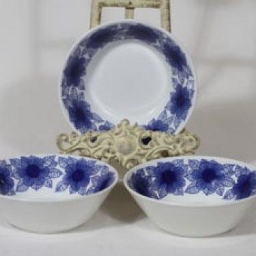 Arabia Malva lautaset, syvä, 3 kpl, suunnittelija Esteri Tomula, syvä, serikuva