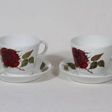 Arabia Ruusu kupit, 50 cl, 2 kpl, suunnittelija Anneli Qveflander, 50 cl, suuri, serikuva