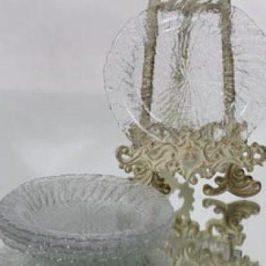 Riihimäen lasi Tupru lautaset, kirkas, 5 kpl, suunnittelija Nanny Still, pieni