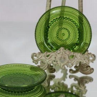 Nuutajärvi Kastehelmi lautaset, vihreä, 2 kpl, suunnittelija Oiva Toikka, pieni