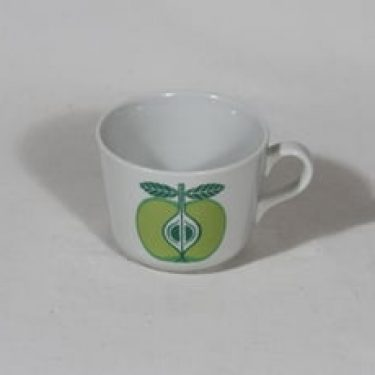 Arabia Pomona muki, omena, suunnittelija Raija Uosikkinen, omena, pieni, serikuva, retro