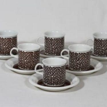 Arabia Faenza kahvikupit, Ruskeakukka, 6 kpl, suunnittelija Inkeri Seppälä, Ruskeakukka, serikuva
