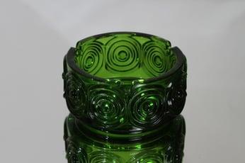 Riihimäen lasi Rengas tuhka-astia, vihreä, suunnittelija Tamara Aladin,