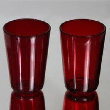 Nuutajärvi 5023 lasit, punainen, 2 kpl, suunnittelija Kaj Franck,