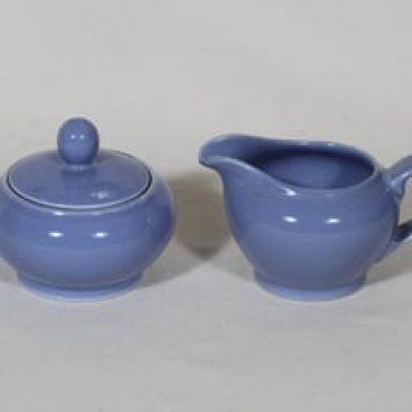 Arabia koristelematon sokerikko ja kermakko, sininen lasite, suunnittelija ,