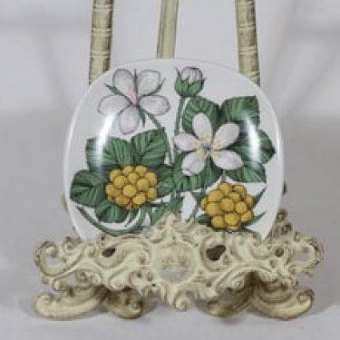 Arabia Botanica koristelautanen, Suomuurain / lakka, suunnittelija Esteri Tomula, Suomuurain / lakka, pieni, serikuva